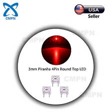 100Pcs 3mm Red Piranha 4Pin Super Flux Water Clear Round Top LED Bulb LED Diodes