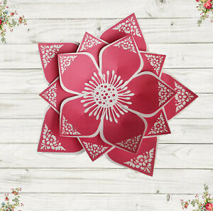 """17"""" -aprox. Lace Paper Flower Red Handmade Backdrop 3D Wall Wedding Party Giant"""