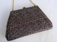 Vintage Bag Purse 1980s Ladies Black Floral Brocade Gilt Framed Evening