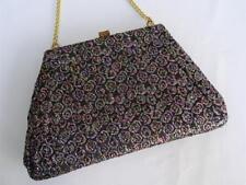 Vintage 1980's Black Floral Brocade & Gilt Framed Evening Purse Bag