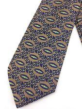 True Vintage Mens Necktie Kipper Wide Neck Tie Jacquard Boho Bronze Navy Paisley