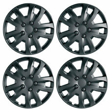 "Jet 14"" Matt Black Car Wheel Trims Hub Caps Plastic Covers Set of 4 Universal"
