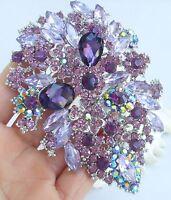 Luxury Headpiece Purple Rhinestone Crystal Flower Leaf Hair Comb Tiara 03905C2