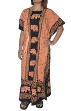 Womens Dress Kaftan Hippie Boho African Casual Orange Caftan Gown Beach Coverup