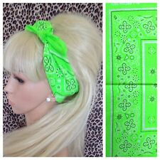NEON BRIGHT GREEN FLORAL PAISLEY COTTON BANDANA HEAD HAIR NECK SCARF RETRO PINUP