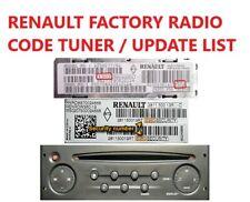 *INSTANT* RENAULT TUNER UPDATE LIST SECURITY RADIO CODE CLIO TRAFFIC TWINGO