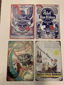 pabst blue ribbon metal Tin signs Lot 8 Fishing Eagle Beer Vintage Rustic Look