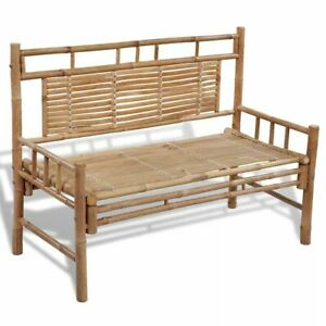 Bamboo Garden Bench Waterproof Outdoor Patio Seat With Backrest Wooden Furniture