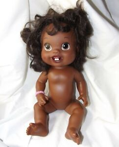 """2010 Hasbro Hard Plastic Baby Alive Black Rooted Hair African American 13"""" Doll"""