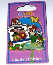 LE Disney Pin✿Chip Dale EPCOT Flower Garden Festival Seeds Butterfly Daisies HTF