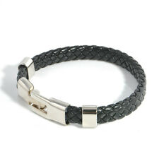 Men Women Leather Wrap Wristband Cuff Magnetic Clasp Bracelet Stainless Steel