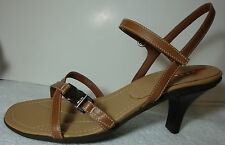 "Prada Calzature ""Donna"" Solid Tan Leather Strappy Sandals Mid-Heel - 39.5 M NEW"