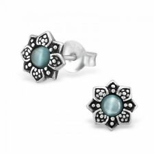 925 Sterling Silver Green Flower Stud Earrings Bali Boho Hippy Gift Box