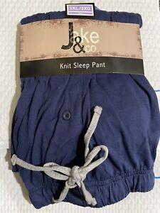 Jake & Co. Men's Knit Sleep Pants Elastic Waist Drawstring Size 2XL Blue, New