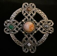 Irish CELTIC Weave BRONZE BROOCH with Carnelian, Onyx and Green Agate Stones