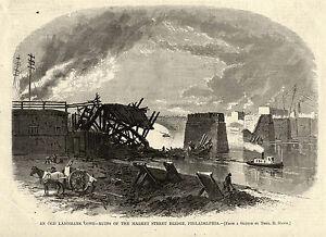 PHILADELPHIA 2nd MARKET STREET BRIDGE DESTROYED, Telegraph lines, Tug Boat 1875