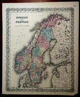 Sweden & Norway Scandinavia Baltic Sea Gulf of Bothnia 1855 Colton map
