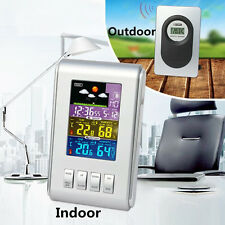 Wireless LCD Digital Thermometer Hygrometer Outdoor Indoor Weather Station Clock