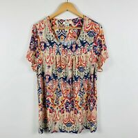 Beme Womens Shirt Top Size Small (Au 16) Short Sleeve Multicoloured Lovely Top