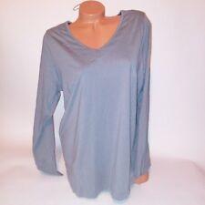 Cacique Womens Sleep Shirt 18 20 Gray Solid Long Sleeve