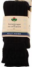 Mens Kilt Hose Socks 10 Percent Wool Plain Black UK Size 7-11 - Scottish Tartan