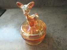 Vintage Jeanette Glass Deer Fawn Peach Luster Powder Box/Trinket