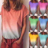 Womens Printed Holiday Ombre Ladies Shirt Short Sleeve Blouse Loose Tee Tops