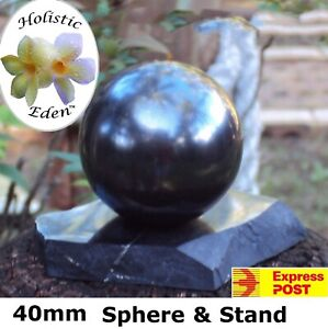 40mm Shungite Sphere + Stand, EMF Protection, Air Purifier Crystal Health Stone