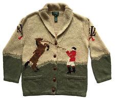 RALPH LAUREN Womens Sz S Hand-Knit Shawl-Collar Cardigan Sweater EQUESTRIAN