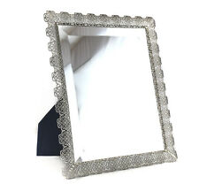 Italian Sterling Silver Filigree Tabletop Vanity Beveled glass Mirror