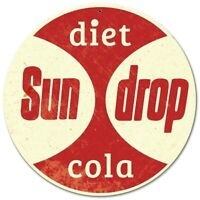 "DIET SUNDROP COLA SODA POP 14"" ROUND HEAVY DUTY USA MADE METAL ADVERTISING SIGN"