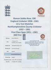 RAMAN SUBBA ROW ENGLAND CRICKETER 13 X TESTS 1958-1961 ORIG HAND SIGNED PICTURE