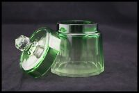 c.1930 BACCARAT GREEN CLEAR CUT CRYSTAL COVERED BOX VANITY JAR CANDY BOWL FRANCE