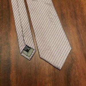 Giorgio Armani Mens Tie Purple Black White Striped EUC