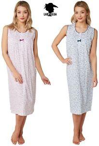 Ladies 100% Cotton Summer Sleeveless Wide Strap Nightie Nightdress by Lady Olga