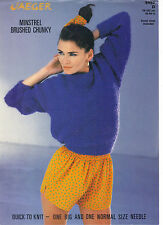 Jaeger Minstrel Brushed Chunky KNITTING PATTERN Irish moss stitch sweater 5453d