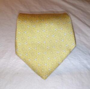 Hermes Paris Mens Necktie Tie Yellow White Black Geometric 100% Silk France