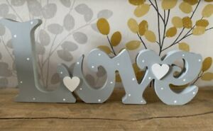 Freestanding Wooden Love Plaque Sign Hand Painted Love Letters New Home 12cm