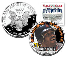 BARRY BONDS 2001 American Silver Eagle Dollar 1 oz U.S. Colorized Coin 71 HRS