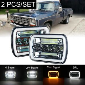 "240W Pair 5x7"" 7x6"" black LED Headlight Hi/Lo Beam For Dodge W150 W250 W350 H4"