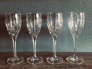 "Mikasa Uptown Crystal 8-1/4"" Wine Glasses Set Of 4 Preowned Mint W/Original Box"