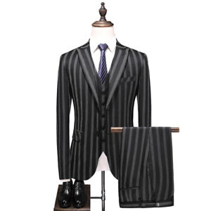 Black Stripe Men's Suit Fashion Business Party Formal Prom Tuxedos Wedding Suits