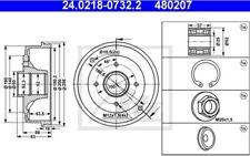 2x ATE Bremstrommeln Trasero Para RENAULT SUPER 5 CLIO 24.0218-0732.2