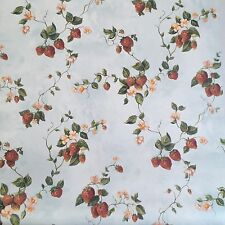 Beacon Brewster Wallpaper Strawberry Flower Floral Berry Vine Blue Lot 2 Rolls