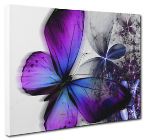 Butterfly Canvas Picture Print. Purple Blue Floral Wall Art Multi Sizes