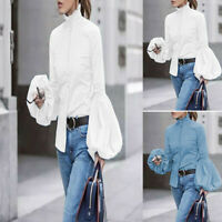 High Button Women Shirt Top Sleeve Neck Oversized Blouse Up Puff Casual Ladies