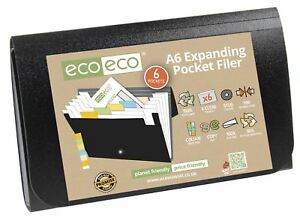 eco-eco A6 50% Recycled 6 Pocket Expanding Black Accordion File + Tabs
