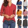 Womens Polka Dot Long Sleeve Shirt Tops Ladies Plus Size Office V Neck Blouse