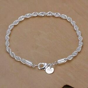 925 STERLING WOMENS SILVER ROPE CHAIN BRACELET CRYSTAL JEWELLERY XMAS GIFT BDAY