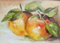 Peach, original oil painting a day, still life signed, fruit 5x7, 2020